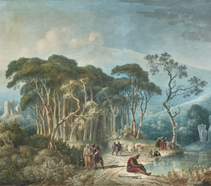 Orientals on the edge of a forest and a water point