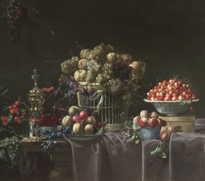 Still life with basket, grapes, cherries, apricots, plums and goldsmiths on a draped entablature of purple velvet